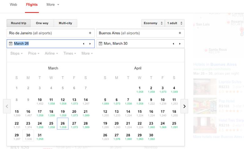 Opção de busca pelo calendário do mês