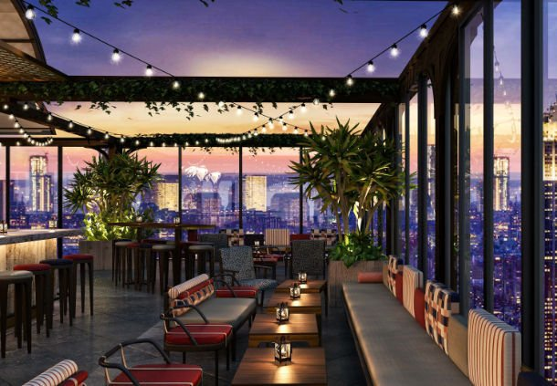 Bar no rooftop do hotel Moxy Times Square, em Nova York