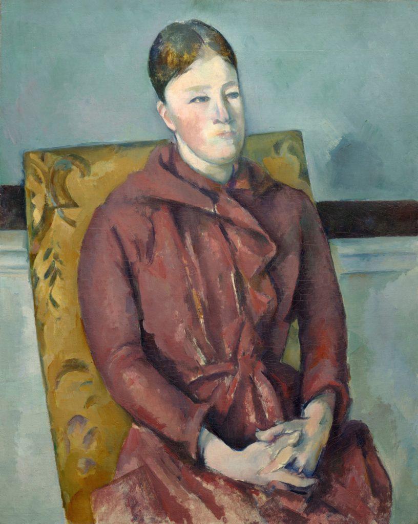 A tela Madame Cézanne em uma Cadeira Amarela (1888-90) na exposição Cézanne Portaits, em Londres