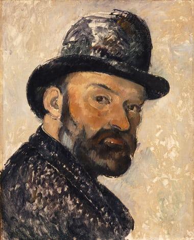 Auto-retrato de Paul Cézanne pintado entre 1885 e 1886, na exposição Cézanne Portarits, em Londres