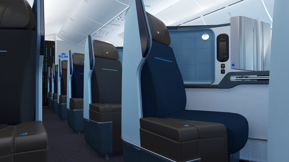 A cabine da classe executiva World Business Class da KLM, com poltronas que reclinam 180 graus
