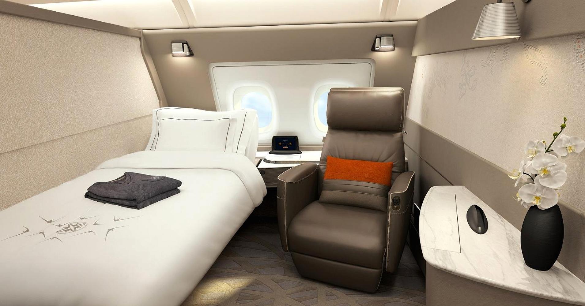 A nova suíte da primeira classe do A380 da companhia Singapore Airlines