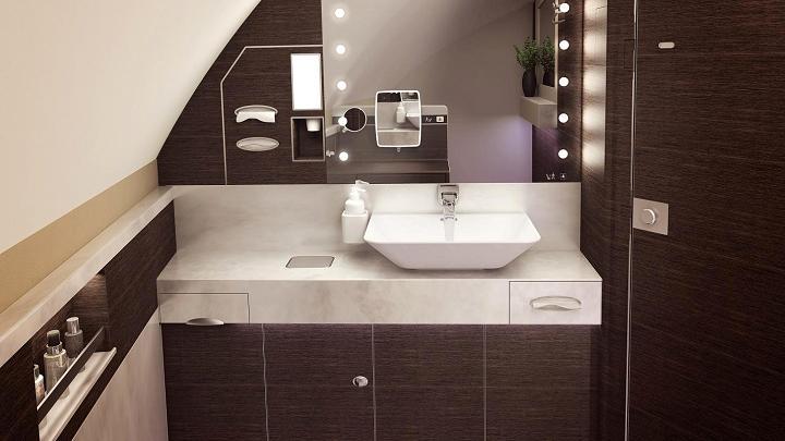 O banheiro da primeira classe das novas suítes do A380 da Singapore Airlines