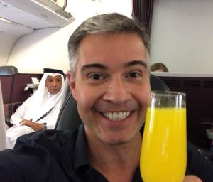 Classe executiva da Qatar Airways Business Class Beirut - Doha Carioca NoMundo Jayme Drummond