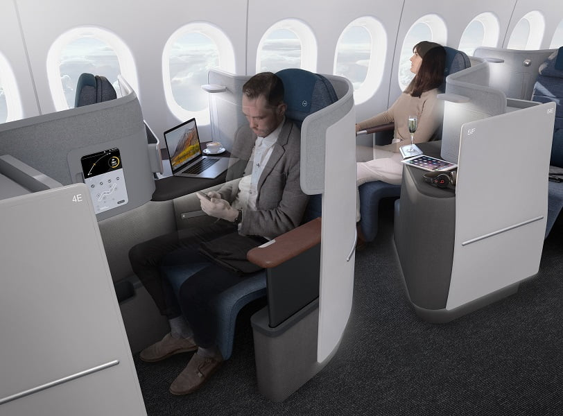 O design da nova business da Lufthansa no Boeing 777-9