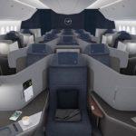 O design da business da Lufthansa nos novos Boeing 777-9