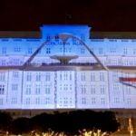 Projeção na fachada do Copacabana Palace